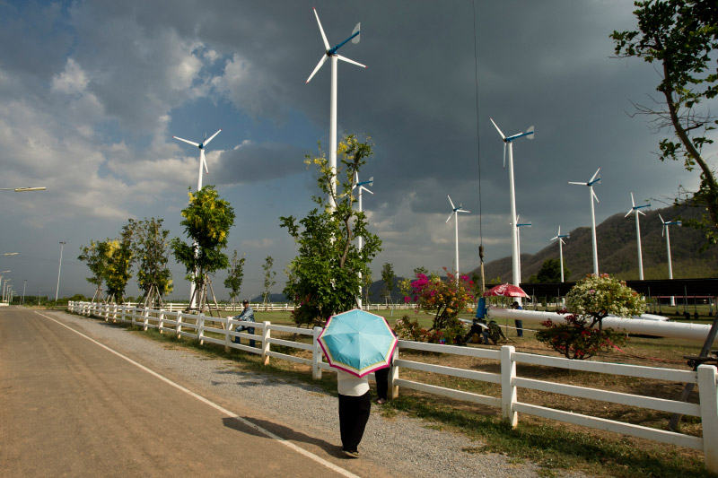 A man carrying an umbrella for the heat examines the King's Wind Farm in Thailand. The wind farm is constructed of 20 small wind turbines. Low wind speeds in Thailand have spurred the development of small, decentralized turbines that can operate at low speeds, similar to ants feeding the grid.